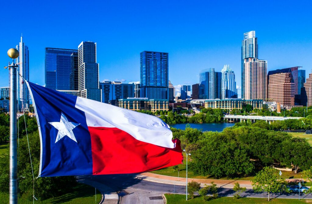 Texas Flag in the City of Austin